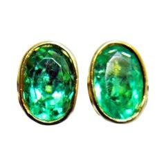 3.63 Carat Natural Colombian Emerald Oval Stud Earrings 18 Karat Yellow Gold