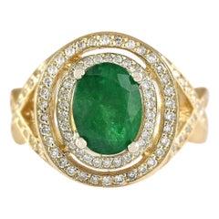 3.63 Carat Natural Emerald 18 Karat Yellow Gold Diamond Ring