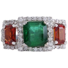 3.63 Carat Natural Emerald Sapphire 18 Karat White Gold Diamond Ring