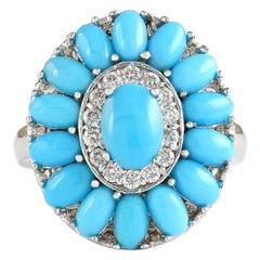 3.63 Carat Natural Turquoise 18 Karat White Gold Diamond Ring
