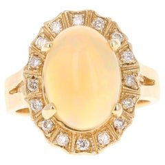 3.63 Carat Opal Diamond 14 Karat Yellow Gold Ring