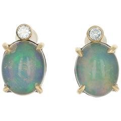 3.63 Carat Oval Cabochon Welo Opal and Diamond Earrings 18k Gold Sterling Custom