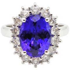 3.63 Carat Oval Cut Tanzanite Diamond Handmade Ring