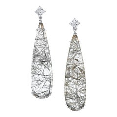 36.37 Carat Rock Crystal Quartz and Diamond 18 Karat White Gold Dangle Earring