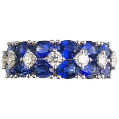 3.64 Carat Blue Sapphire and 0.52 Carat Diamond Fashion Ring in 18 Karat Gold