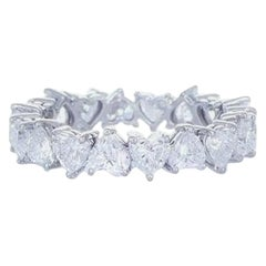3.64 Carat Diamond Heart Shape Eternity Ring 18K Gold