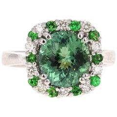 3.64 Carat Green Tourmaline Diamond 14 Karat White Gold Cocktail Ring