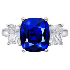 3.64 Carat GRS Certified 18K Gold Non Heated Sapphire and Natural Diamond Ring