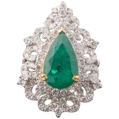 3.64 Carat Pear Shape Emerald and Diamond 18 Karat Gold Cocktail Ring