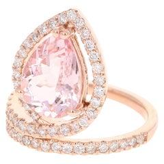3.64 Carat Pink Morganite Diamond 14 Karat Rose Gold Cocktail Ring