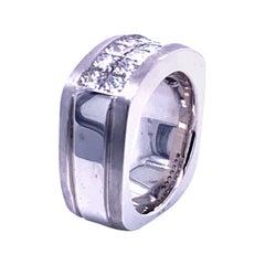 3.64 Carat Princess Cut Diamond 18 Karat Gents Ring