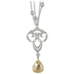 3.64 Carat Rose Cut Diamond Necklace Set in 18 Karat Gold