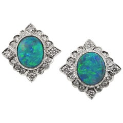 3.64ct Australian Black Opal, Diamond, and 18kt Alessia Earrings, Made in Italy