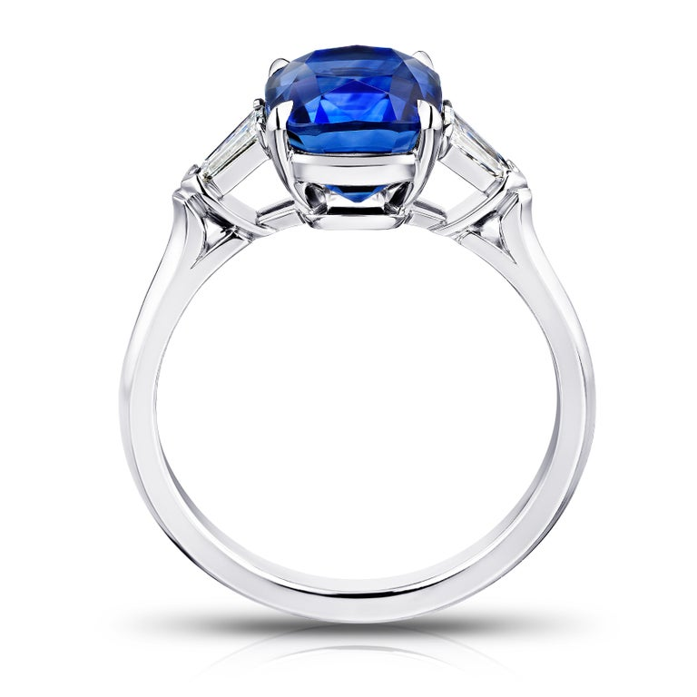 Contemporary 3.65 Carat Cushion Blue Sapphire and Diamond Ring For Sale