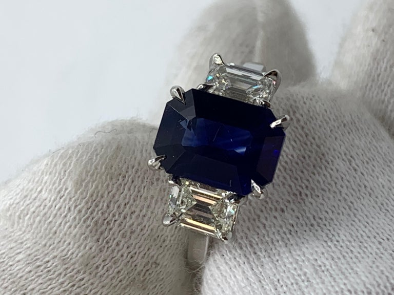 GIA Certified 3.65 Carat Emerald Cut Blue Sapphire and Diamond Three-Stone Ring In New Condition For Sale In New York, NY