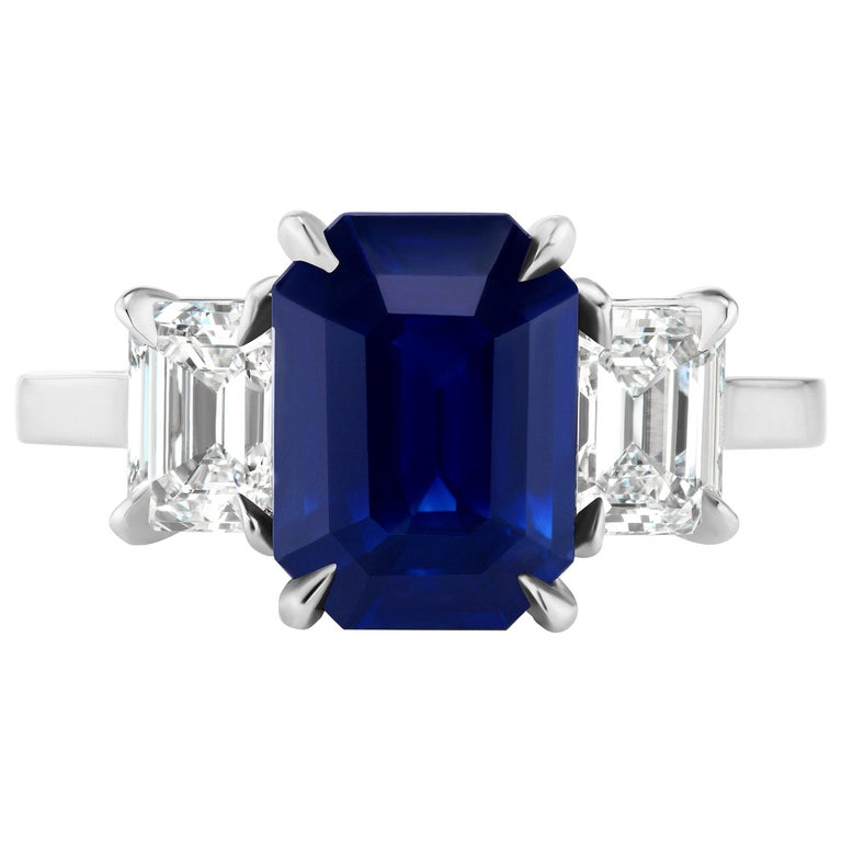 GIA Certified 3.65 Carat Emerald Cut Blue Sapphire and Diamond Three-Stone Ring For Sale