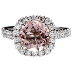 3.65 Carat Exquisite Natural Morganite and Diamond 14K Solid White Gold Ring