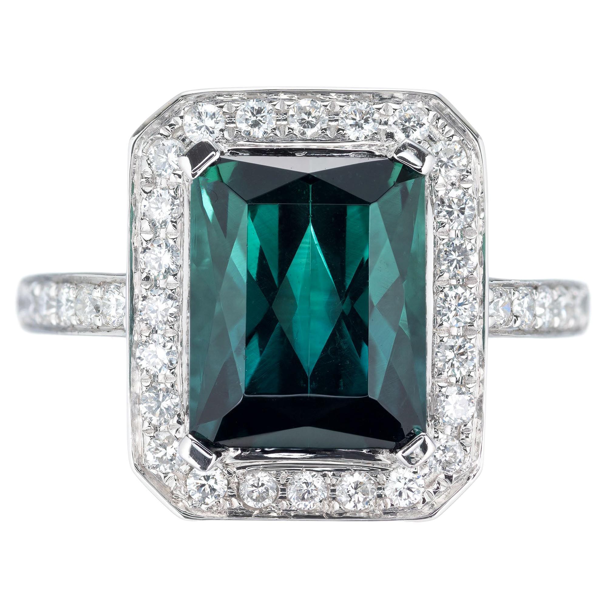 3.65 Carat Green Tourmaline Diamond Halo Gold Engagement Ring