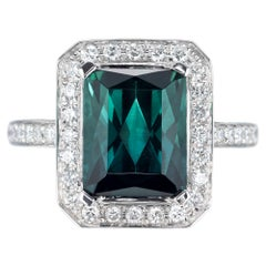 3.65 Carat Green Tourmaline Diamond Halo Gold Engagement Ring