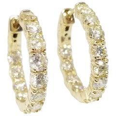 3.65 Carat Huggie Diamond Hoops Earrings 14 Karat Yellow Gold
