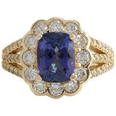 3.65 Carat Natural Tanzanite 18 Karat Yellow Gold Diamond Ring