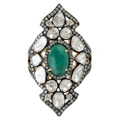3.65 Carat Rosecut Diamond Emerald Cocktail Ring