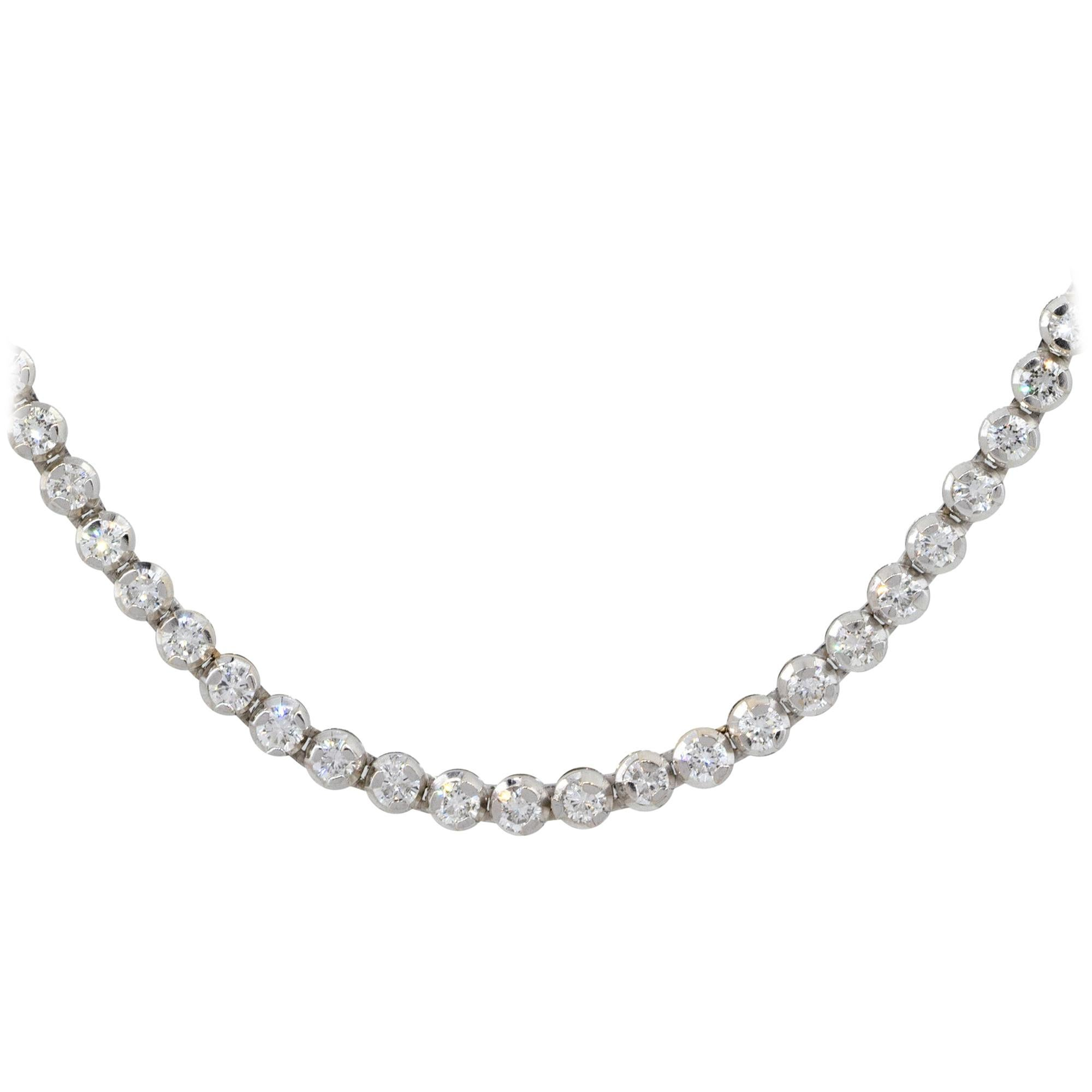 3.65 Carat Round Diamond Tennis Necklace 18 Karat in Stock