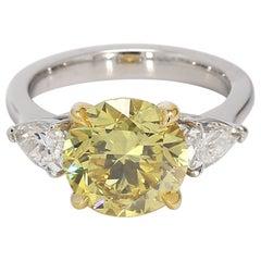 3.65 Carat Round Fancy Vivid Yellow Diamond Ring, GIA Certified