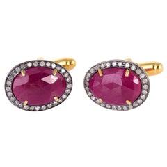 3.65 Carat Ruby Diamond Cufflinks