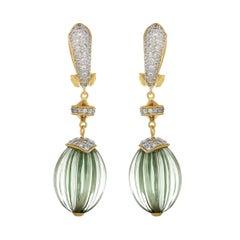 36.53 Carat Green Amethyst Melon and Diamond 18kt Yellow Gold Drop Earrings