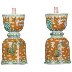 Couple Chinese Porcelain Oil Lamps 20th Century Dragons Ruyi Famille Rose