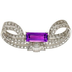 3.66 Carat Amethyst and 2.65 Carat Diamond Platinum Brooch