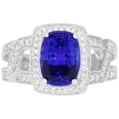 3.66 Carat Cushion Cut Tanzanite and 0.49 Carat White Diamond Ring