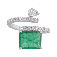 3.66 Carat Emerald Diamond 18 Karat Gold Ring