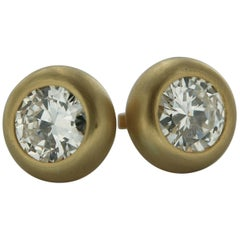 3.66 Carat Natural Diamond Solitaire Studs Earrings in 18 Karat Yellow Gold