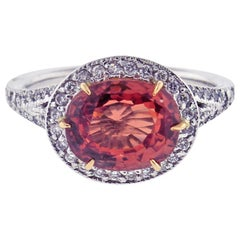 3.66 Carat Padparadscha Sapphire and Diamond Ring