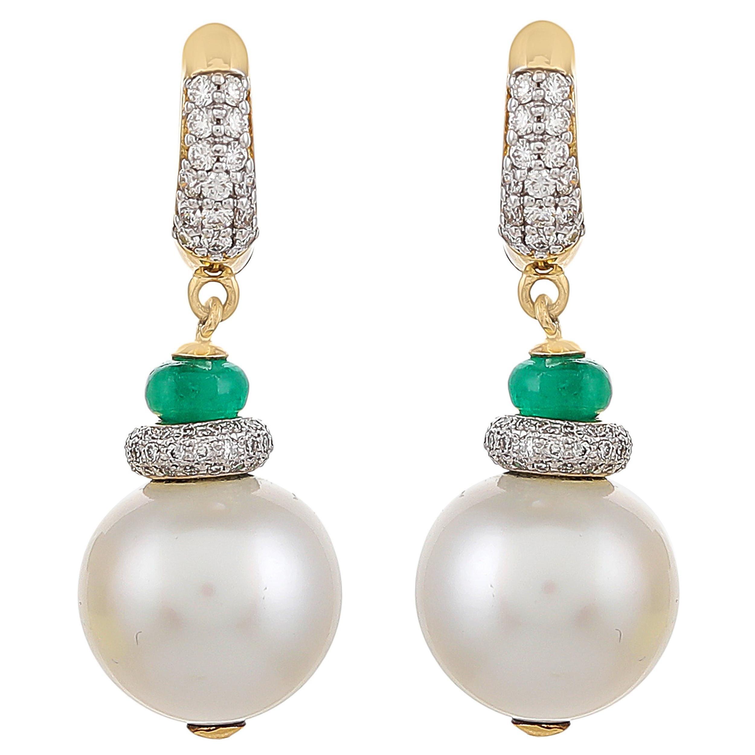 36.60 Carat South Sea Pearl Zambian Emerald and Diamond 18kt Yellow Gold Earring