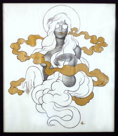 Untitled- One of a kind pencil and gold paint figure drawing on paper