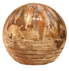 Large Ceramic Orb Sculpture - Modern Abstract Pottery Art - Ash and Color Glazes