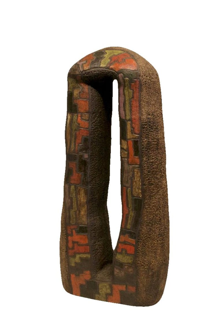 Mark Wade Abstract Sculpture - Abstract Primitive Sculpture Art  - Large Ceramic Red Clay Pottery w/ Ash Glaze