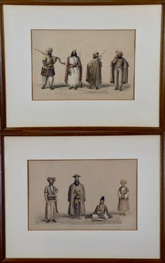 A Pair of 19th C. Engravings Depicting the Costumes and Weapons of Afghani Men