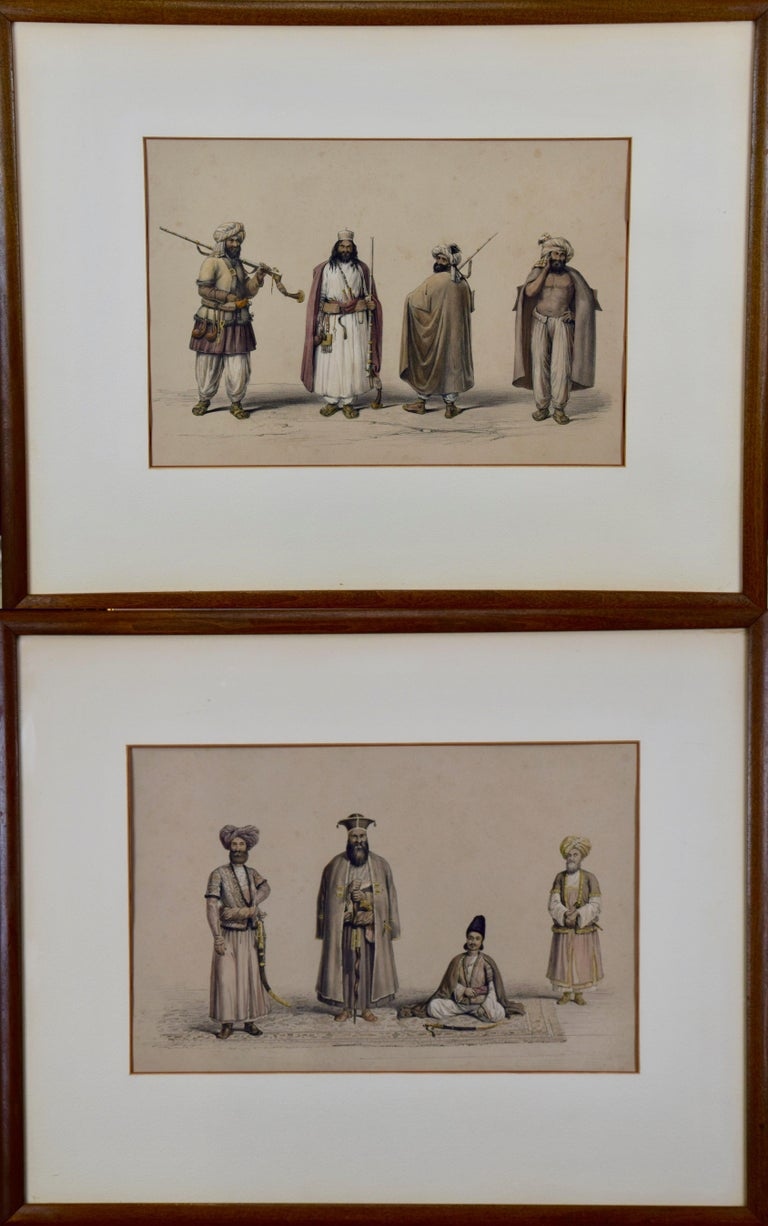 Dr. James Atkinson Portrait Print - A Pair of 19th c. Engravings Depicting the Costumes and Weapons of Afghani Men