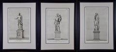Grouping of Three Engravings of Ancient Roman Statues in the Vatican