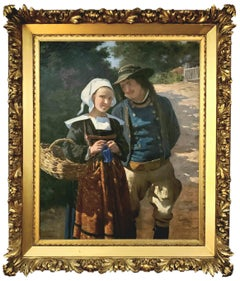 Portrait of a French Couple in a Forest Landscape circa 1885