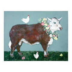 French Cow with Chickens Oil Painting