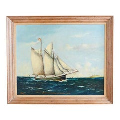 Danish Sailing Ship Painting Signed