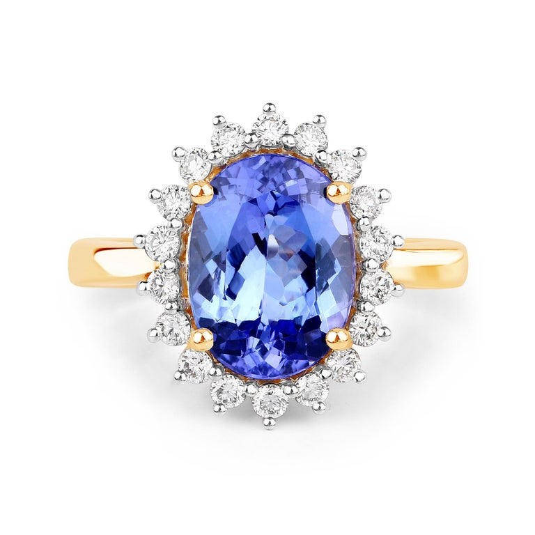 Oval Cut 3.67 Carat Genuine Tanzanite and White Diamond 14 Karat Yellow Gold Ring For Sale