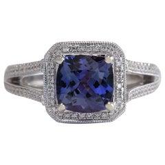 3.67 Carat Natural Tanzanite 18 Karat White Gold Diamond Ring