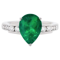 3.67 Carat Pear Shape Natural Emerald and Diamond 'Amoro' 18 Carat Gold Ring