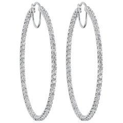 3.67 Carat Round Diamond Oval-Shaped Hoop Earrings